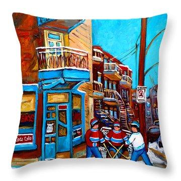 Montreal City Scene Hockey At Wilenskys Throw Pillow by Carole Spandau