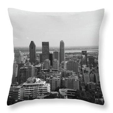 Montreal Cityscape Bw Throw Pillow