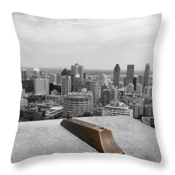 Montreal Cityscape Bw With Color Throw Pillow