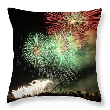 Montreal-fireworks Throw Pillow by Mircea Costina Photography