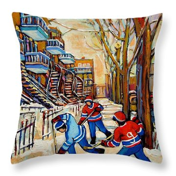 Montreal Hockey Game With 3 Boys Throw Pillow by Carole Spandau