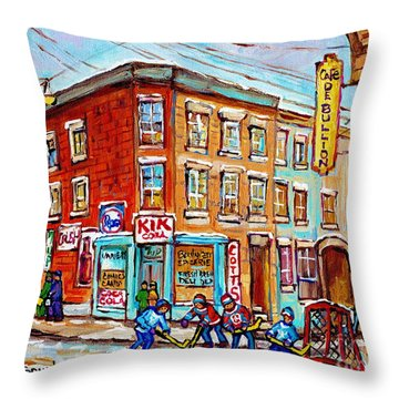 Montreal Storefront Paintings Debullion Street Hockey Art Quebec Winterscenes C Spandau Canadian Art Throw Pillow
