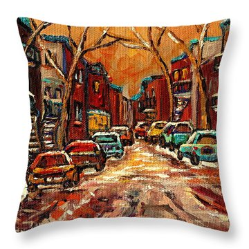 Montreal Streets In Winter Throw Pillow by Carole Spandau