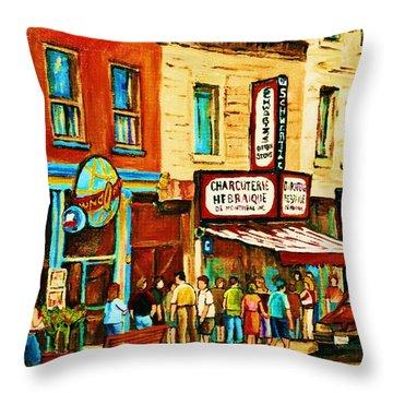 Montreal Streetscene Artist Carole Spandau Paints Schwartzs Main Street Hustle Bustle Throw Pillow by Carole Spandau