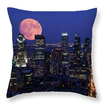 Throw Pillow featuring the photograph Montreal Supermoon by Mircea Costina Photography