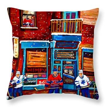 Montreal Wilensky Deli By Carole Spandau Montreal Streetscene And Hockey Artist Throw Pillow by Carole Spandau