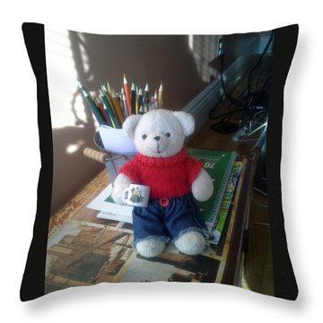 Monty At Writing Desk Throw Pillow