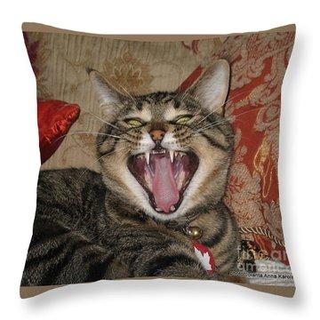 Monty's Yawn Throw Pillow by Jolanta Anna Karolska