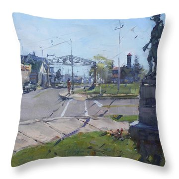 Monument At Pine Ave And Portage Rd Throw Pillow