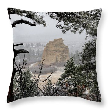 Monument Rock In The Snow Throw Pillow