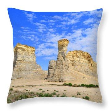 Monument Rocks In Kansas 2 Throw Pillow