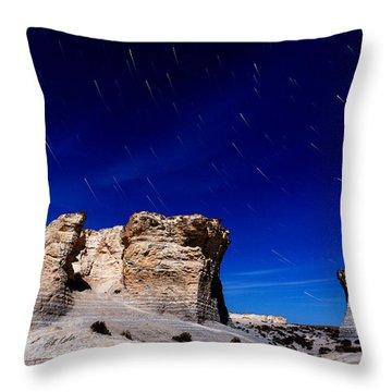 Monument Rocks Moonlight Throw Pillow