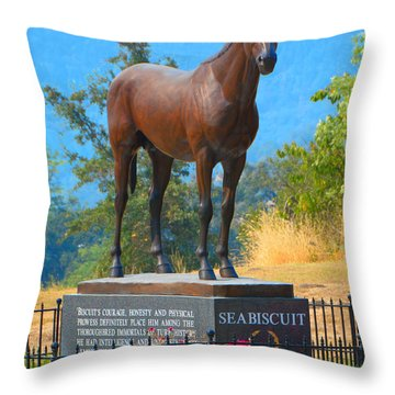 Monument To Seabiscuit Throw Pillow