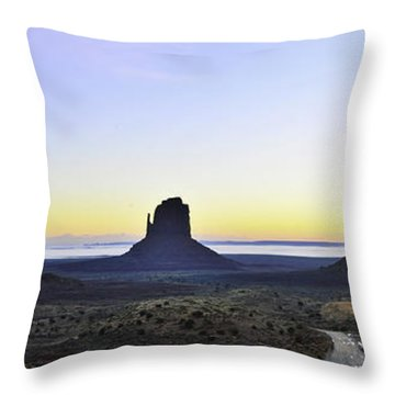 Monument Valley At Sunrise Panoramic Throw Pillow