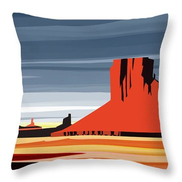 Monument Valley Sunset Digital Realism Throw Pillow