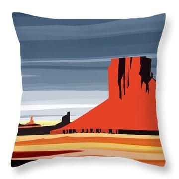 Monument Valley Sunset Digital Realism Throw Pillow by Sassan Filsoof