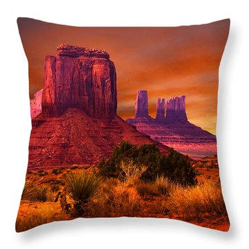 Monument Valley Sunset Throw Pillow by Harry Spitz