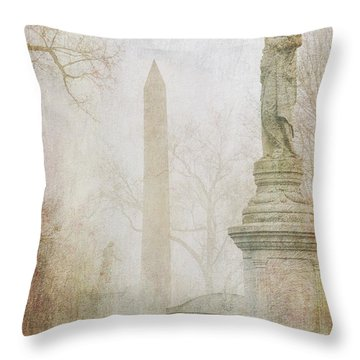 Throw Pillow featuring the photograph Monumental Fog by Heidi Hermes