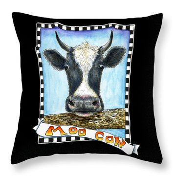 Throw Pillow featuring the drawing Moo Cow In Black by Retta Stephenson
