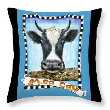 Throw Pillow featuring the drawing Moo Cow In Blue by Retta Stephenson