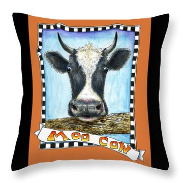 Throw Pillow featuring the painting Moo Cow In Orange by Retta Stephenson