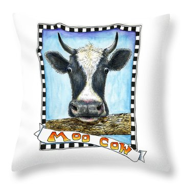 Throw Pillow featuring the painting Moo Cow by Retta Stephenson