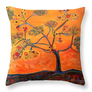 Orange Flamboyan Throw Pillow