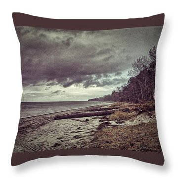 Moody Beach Throw Pillow