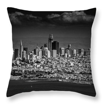 Moody Black And White Photo Of San Francisco California Throw Pillow by Steven Heap