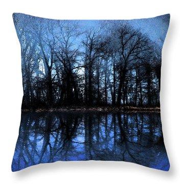 Moody Blue Daybreak Throw Pillow by Cedric Hampton