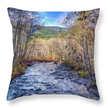 Moody Blue River Throw Pillow by Spencer McDonald