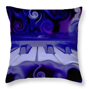 Moody Blues Throw Pillow by Linda Sannuti