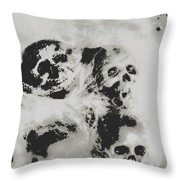 Moody Dramatic Cobwebby Skull Artwork Throw Pillow