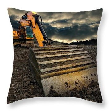 Moody Excavator Throw Pillow