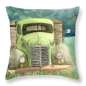 Moody Green Throw Pillow