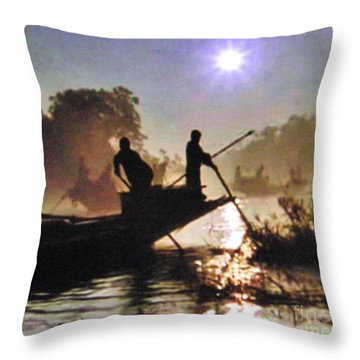 Moody River Silhouettes At Sunset Throw Pillow