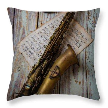 Moody Sax Throw Pillow