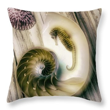 Moody Seahorse Throw Pillow by Garry Gay