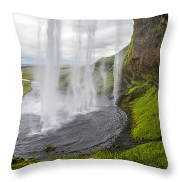 Moody Seljalandsfoss Throw Pillow
