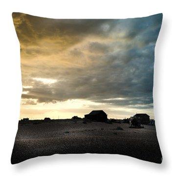 Moody Sky, Dungeness Beach  Throw Pillow