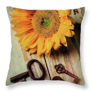 Moody Sunflower With Keys Throw Pillow