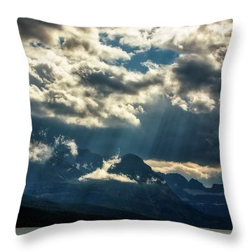 Moody Sunrays Over Glacier National Park Throw Pillow