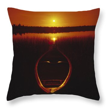 Moody Sunrise Lake Scene With Cedar Canoe Throw Pillow