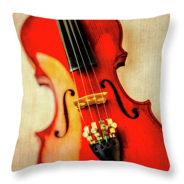 Moody Violin Throw Pillow by Garry Gay