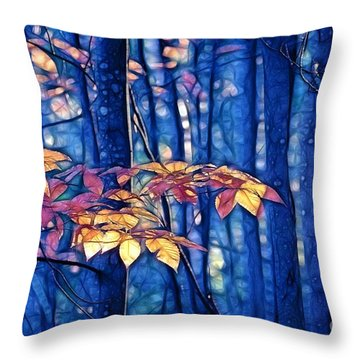 Moody Woods Throw Pillow by Aimelle