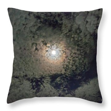 Throw Pillow featuring the photograph Moon And Clouds by Wanda Krack