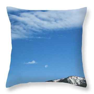 Throw Pillow featuring the photograph Moon And Mountain Peak by Tyson Kinnison