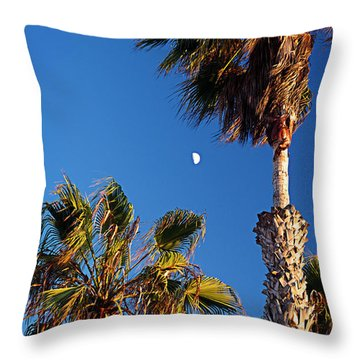 Moon And Palms Throw Pillow