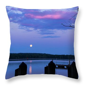 Moon And Pier Throw Pillow