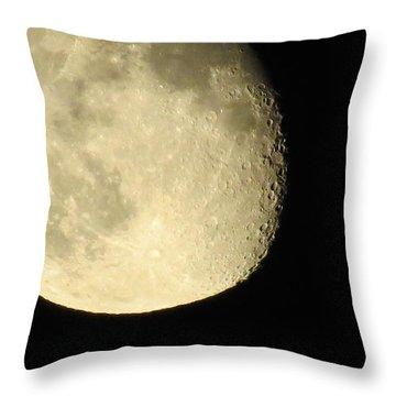 Moon And Plane Over Sanibel Throw Pillow by Melinda Saminski